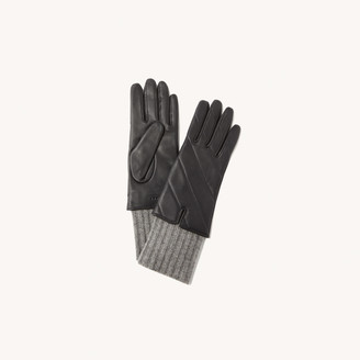 Sandro Quilted mixed-material gloves