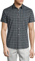Theory Zack PS Check Short-Sleeve Sport Shirt, Dark Grey
