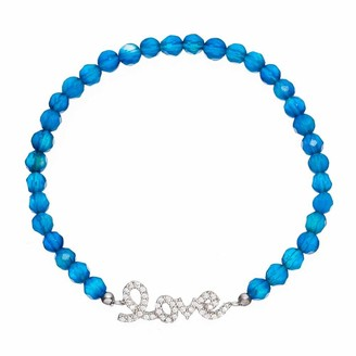 Ingenious Jewellery Sapphire Beaded Bracelet with Sterling Silver Pave Love Charm of 18.5cm
