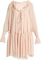 See by Chloe Ruffled stretch gauze-jersey dress