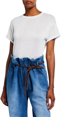 Brunello Cucinelli Crewneck Short-Sleeve Cotton-Blend Metallic Sweater