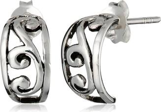 Barse Sterling Silver Ornate Scroll Half Hoop Earrings