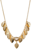 Cole Haan Sandy Quartz & Textured Leaf Charm Necklace