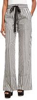 Derek Lam Striped Tie-Waist Silk Pajama Pants, Black/White