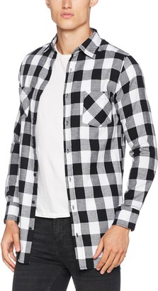 Urban Classics Men's Side-Zip Long Checked Flanell Shirt Casual
