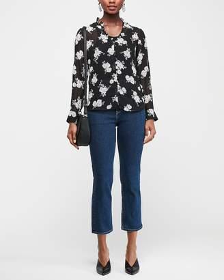 Express Slim Floral Ruffle Collar Sheer Portofino Shirt