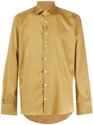 Etro Long-Sleeved Micro Print Shirt