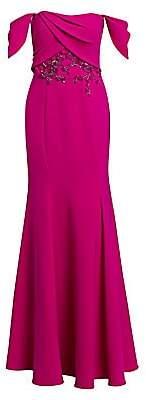 Marchesa Women's Embellished Off-The-Shoulder Gown