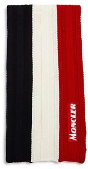 Moncler New-Logo Striped Rib-Knit Scarf