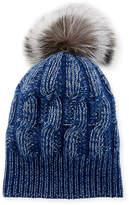 Sofia Cashmere Girls' Seed-Stitch Beanie Hat w/ Fur Pompom, Blue