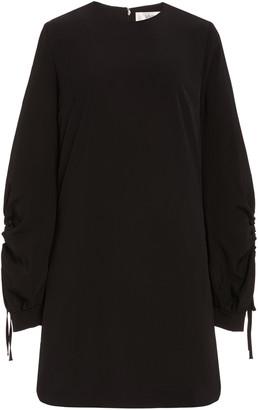 Victoria Victoria Beckham Drawstring-Sleeve Satin Crepe Shift Dress