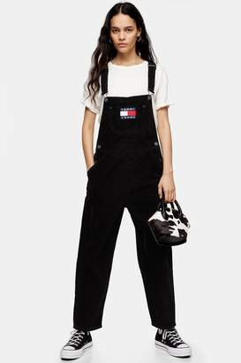Tommy Hilfiger Womens Black Corduroy Dungarees By Tommy Jeans - Black