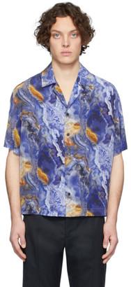 Deveaux New York Blue Silk Resort Shirt