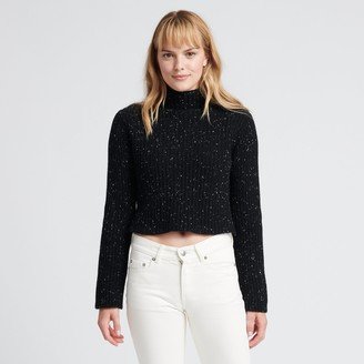 Naadam Cropped Wool Cashmere Turtleneck Black Donegal