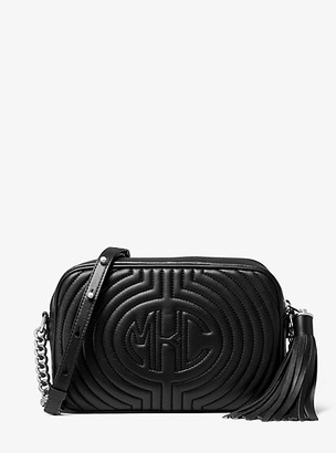 Michael Kors Monogramme Quilted Leather Shoulder Bag - Black