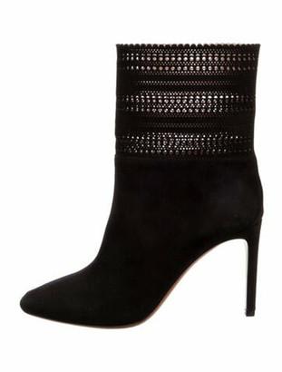 Alaia Suede Cutout Accent Boots Black
