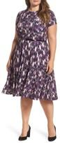 Eliza J Plus Size Women's Belted Print Fit & Flare Dress