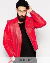 Reclaimed Vintage Inspired Leather Biker Jacket In Red