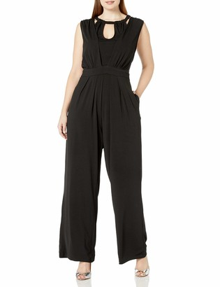 City Chic Women's Apparel Women's Plus Size Wide Leg Jumpsuit with tie Waist and Keyhole Neckline Detail
