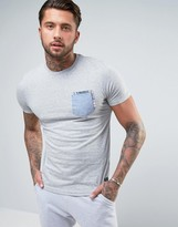 Brave Soul Chambray Check Pocket T-shirt