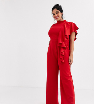 Chi Chi London Plus high neck scuba jumpsuit with frill detail in red