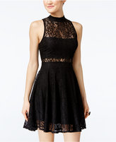 Material Girl Juniors' Lace Mock-Neck Fit & Flare Dress, Only at Macy's