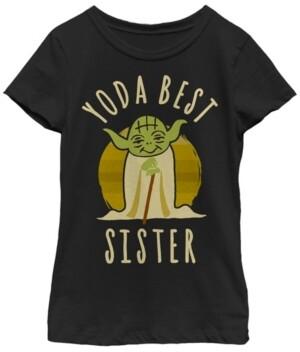 Fifth Sun Star Wars Big Girl's Yoda Best Sister Cartoon Yoda Short Sleeve T-Shirt