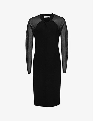Reiss Tula sheer-sleeve dress