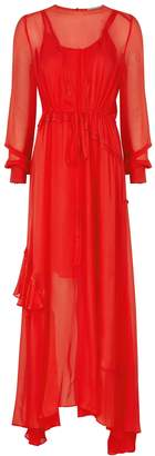 Preen Line Red Lace-trimmed Chiffon Maxi Dress