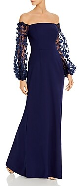 Eliza J Floral-Embellished Off-the-Shoulder Gown