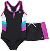 ZeroXposur Pattern One Piece Swimsuit with Matching Skirt Big Kid Girls