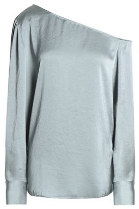 Theory One-shoulder Crinkled-satin Blouse