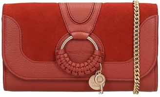 See by Chloe Hana Long Wallet In Red Suede And Leather