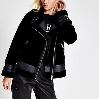 River Island Black faux shearling aviator jacket