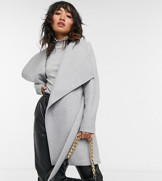 Vila Petite wrap coat with tie waist in grey