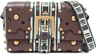 Valentino Garavani Embellished Painted Textured-leather Shoulder Bag