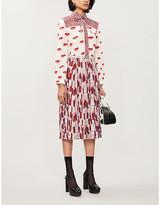 Prada Lip-print crepe mini dress