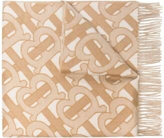 Burberry TB monogram cashmere scarf