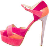 Brian Atwood Suede Platform Sandals