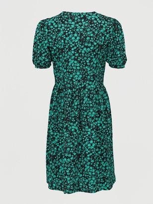 Very Crinkle Puff Sleeve Peplum Mini Dress - Print Multi