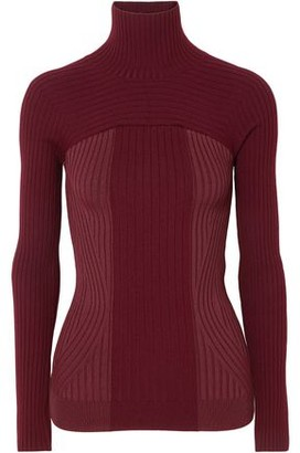 Thierry Mugler Ribbed Two-tone Wool-blend Turtleneck Sweater