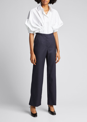 Nina Ricci Pleated Raglan-Sleeve Collar Shirt