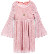 Speechless Pink Crinkle Bell-Sleeve Dress - Girls