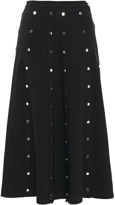 Christopher Kane Button-detailed Pleated Twill Midi Skirt