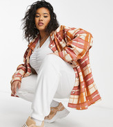 Thumbnail for your product : Lasula Plus oversized check shirt in orange