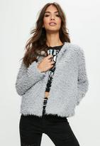 Missguided Grey Faux Fur Coat