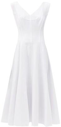 Norma Kamali Grace Raw-seam Panelled Dress - White