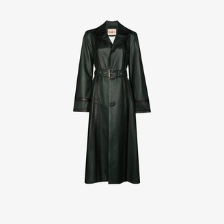 Plan C Belted Leather Coat