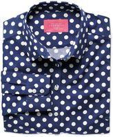 Charles Tyrwhitt Women's Semi-Fitted Spot Print Navy and White Poplin Cotton Casual Shirt Size 4