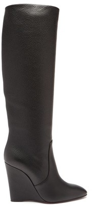Christian Louboutin Civiliza 100 Wedge-heel Leather Knee-high Boots - Black